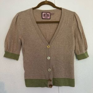Juicy Couture Cropped Green Stripe Cardigan XS / S